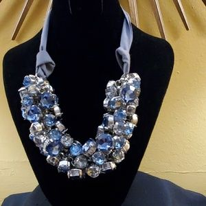LOFT Blue Cluster Rhinestone Necklace #563